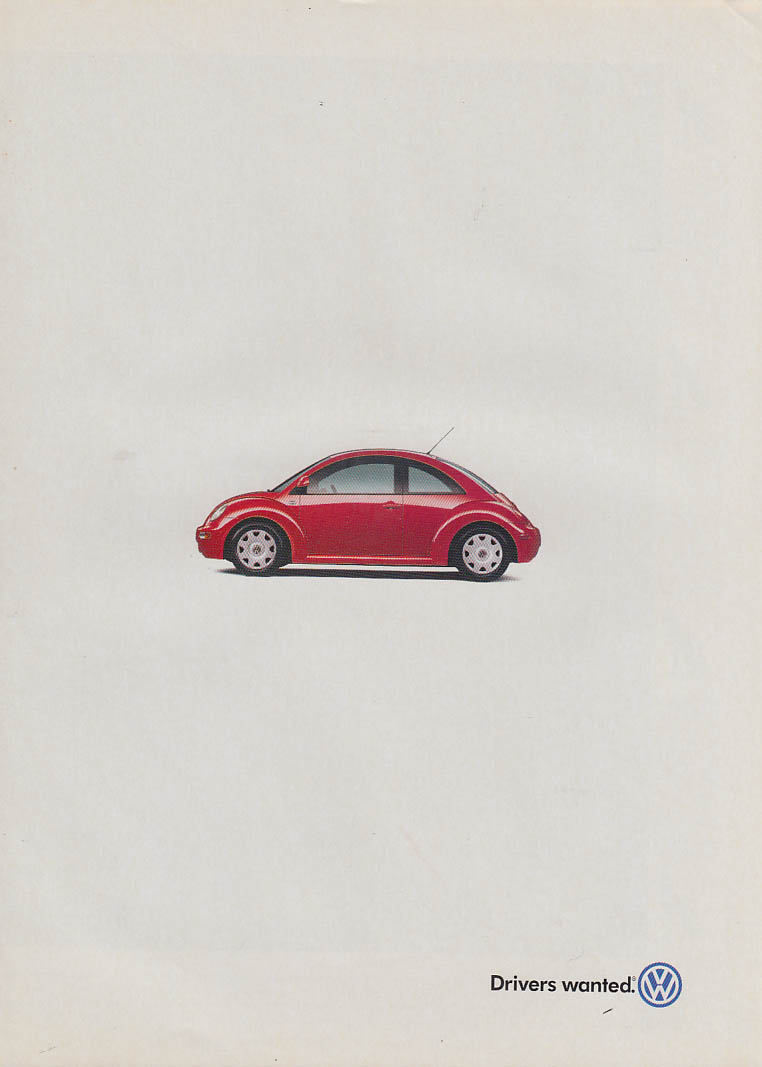 Drivers wanted Volkswagen New Beetle ad ca 2000