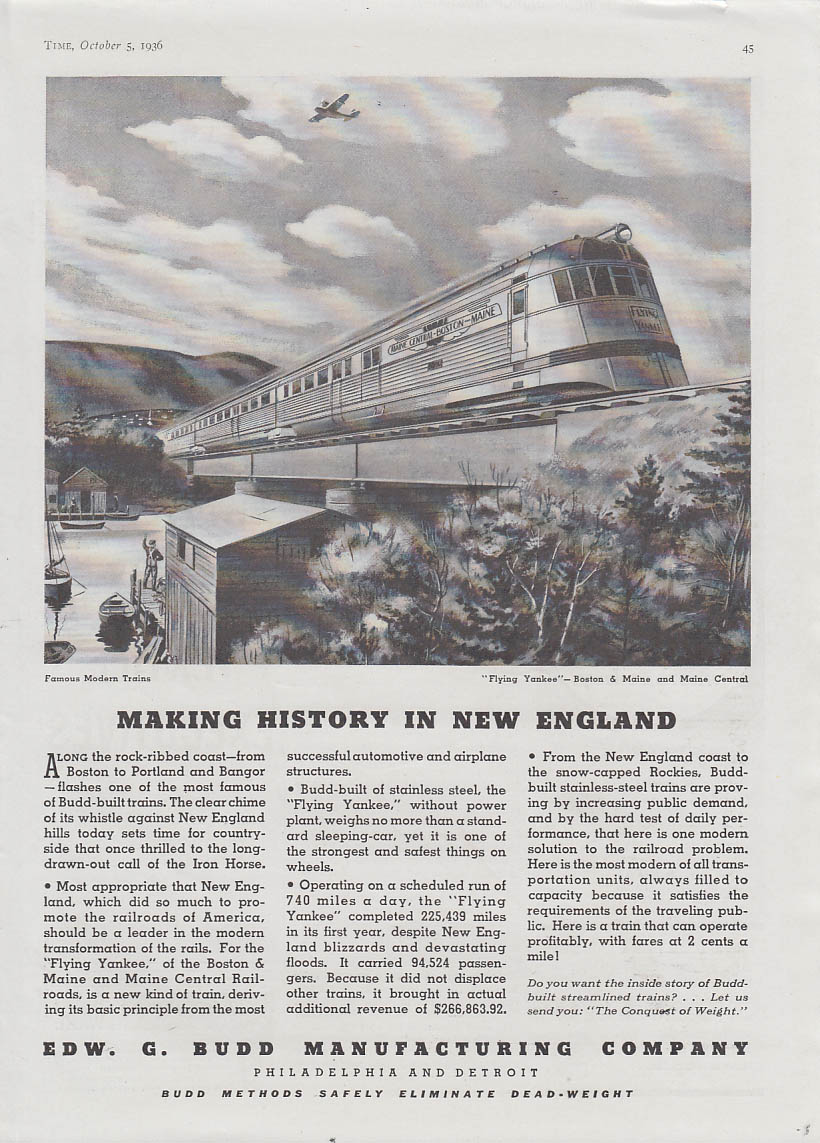 Making history in New England Boston & Maine RR Flying Yankee Budd ad 1936