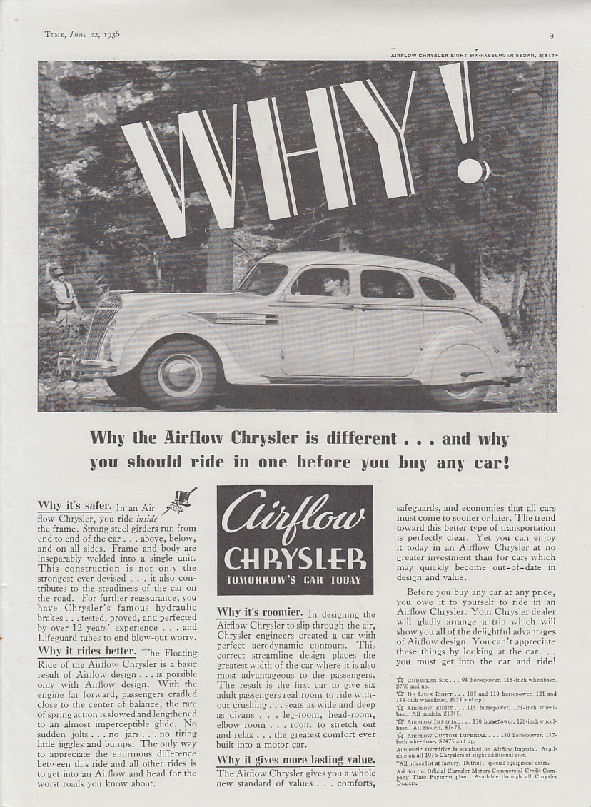 Image for WHY! The Airflow Chrysler is different and why you should ride one ad 1936 T