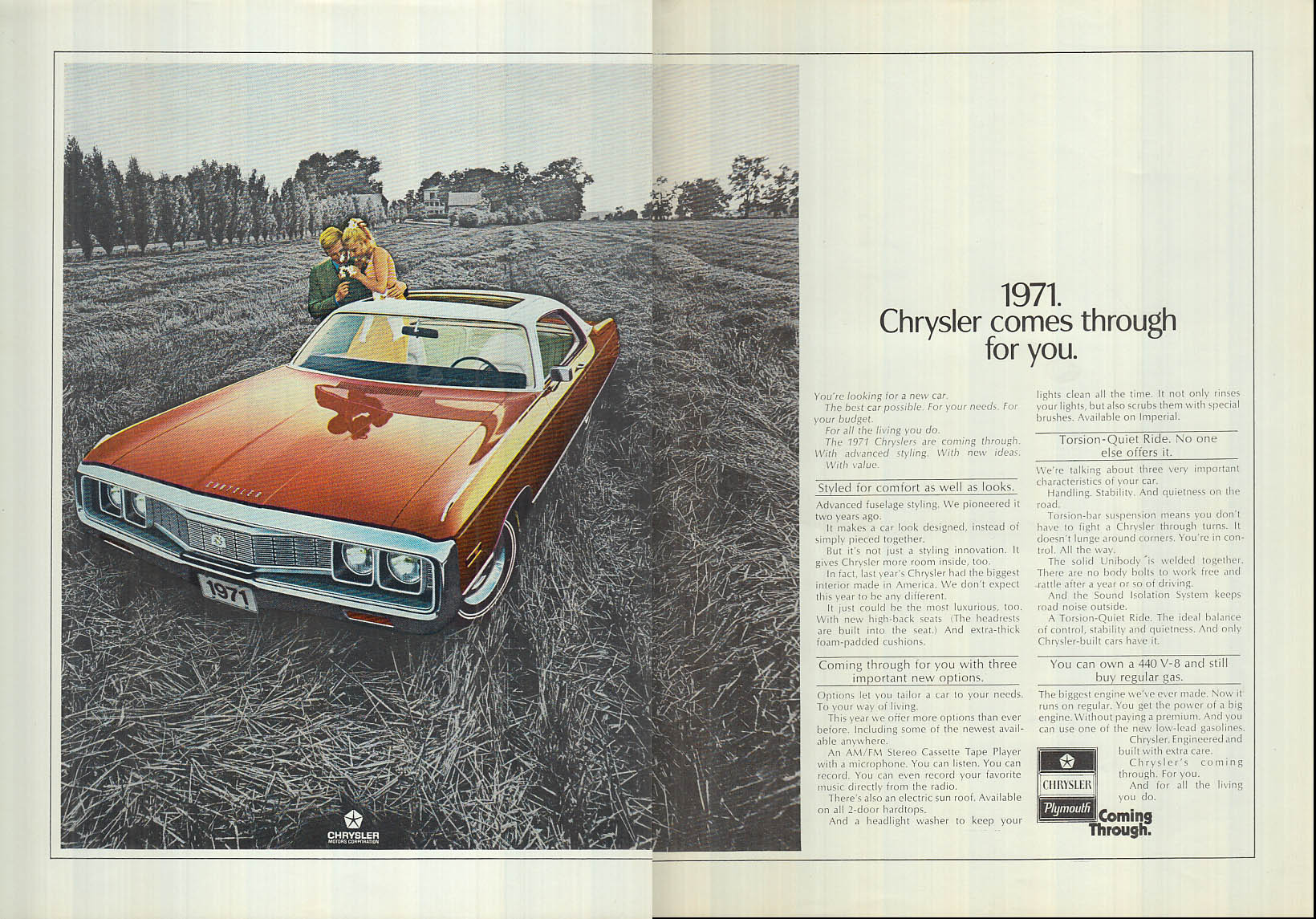Image for Chrysler comes through for you ad 1971 NY