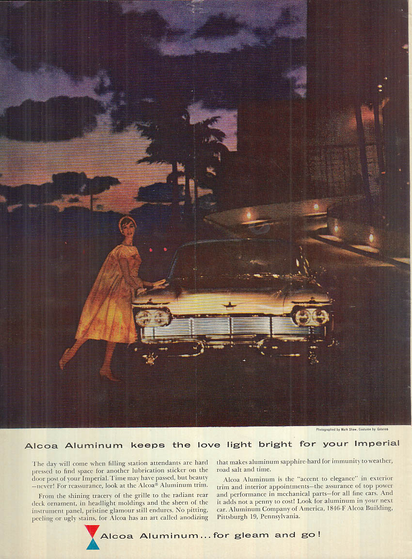 Image for Alcoa Aluminum / Gay companion working partner Imperial coupe ad 1958 NY