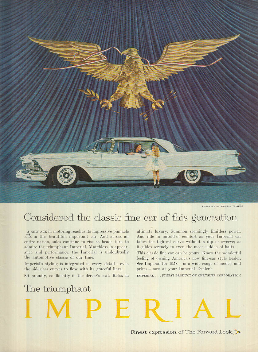 Image for The classic fine car of its generation Imperial by Chrysler ad 1958 NY