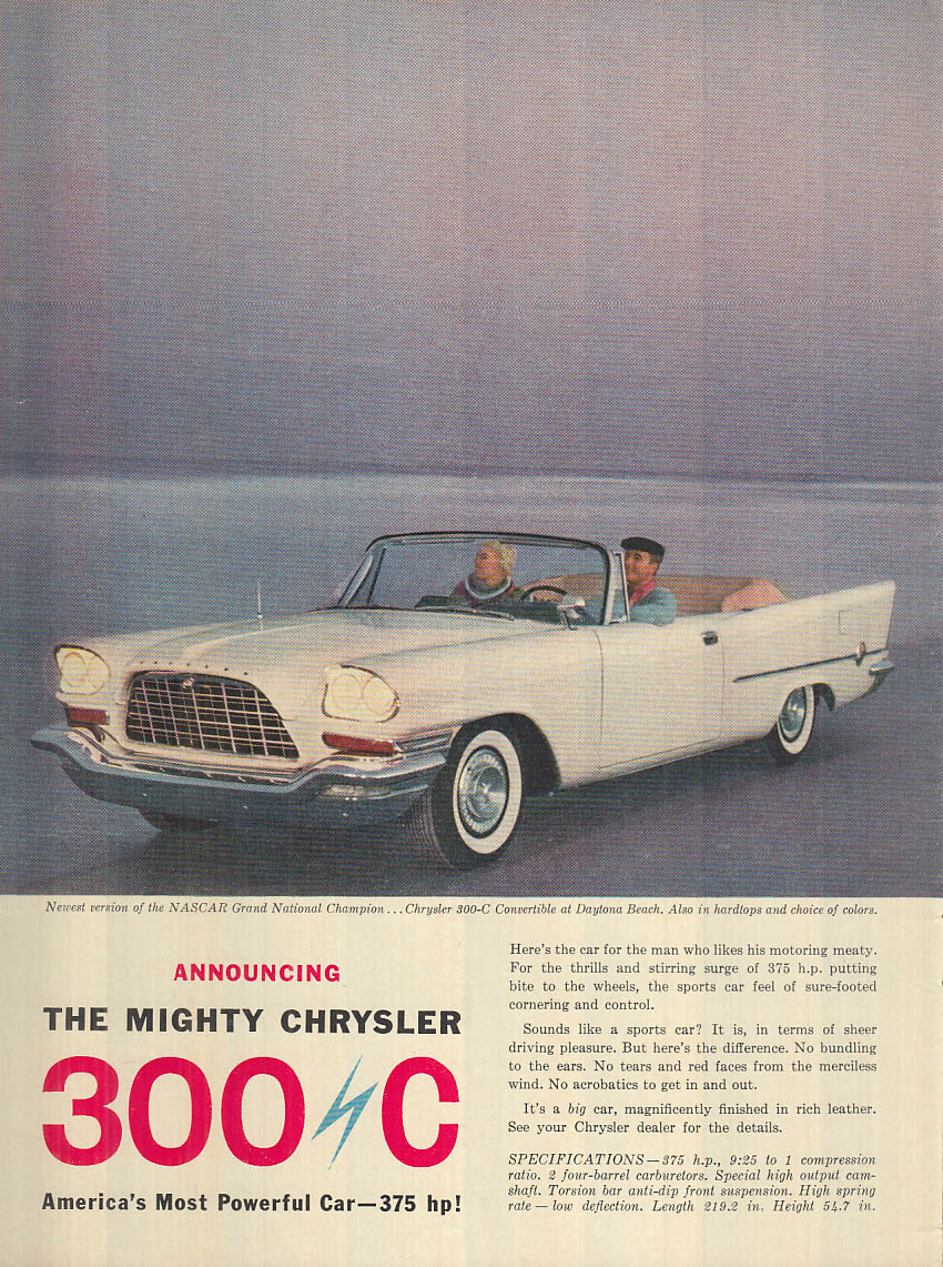 Image for Announcing the mighty Chrysler 300 C America's most powerful car ad 1957 NY