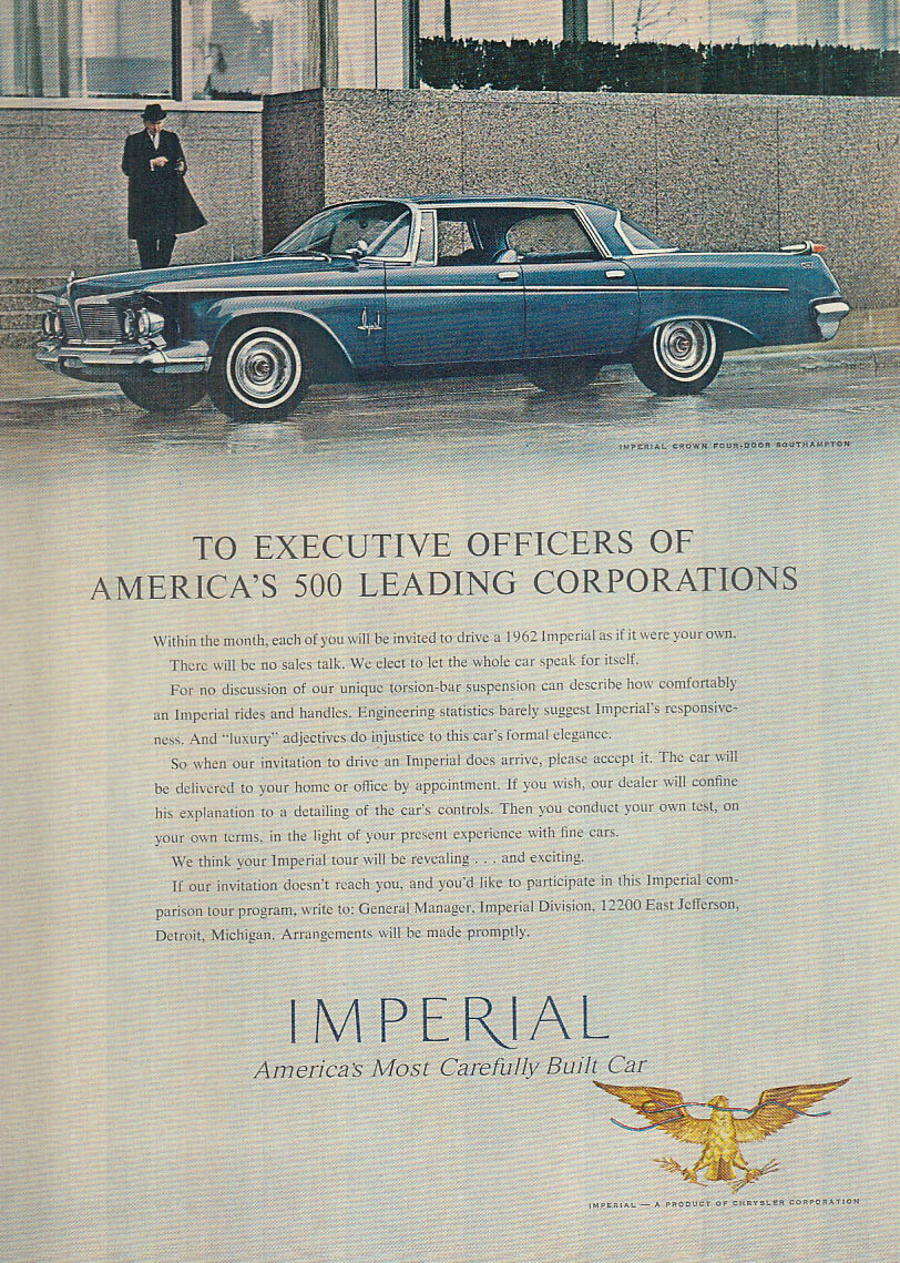 Image for To Executive Officers of Leading Corporations - Imperial by Chrysler ad 1962 NY