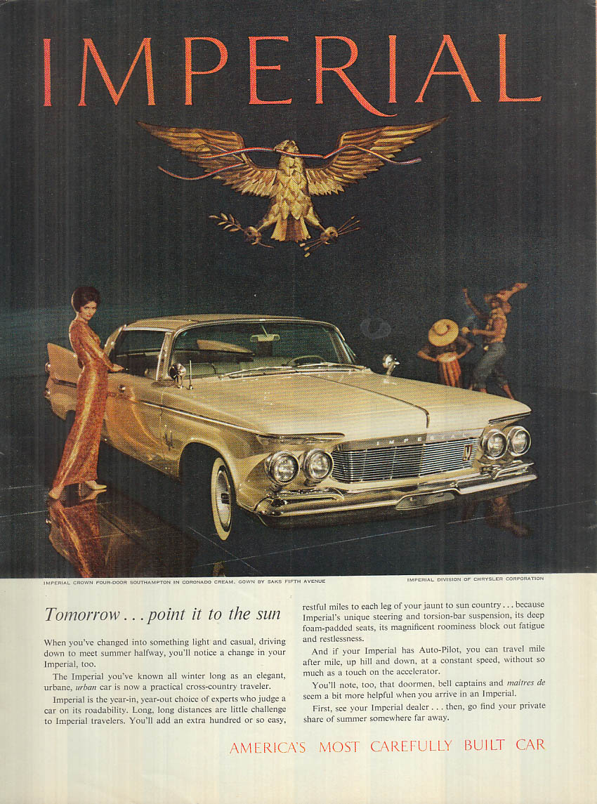 Image for Tomorrow point it to the sun Imperial by Chrysler ad 1961 NY