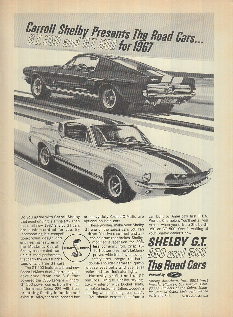 The Road Cars for 1967: Shelby GT 350 & 500 ad 1967 R&T