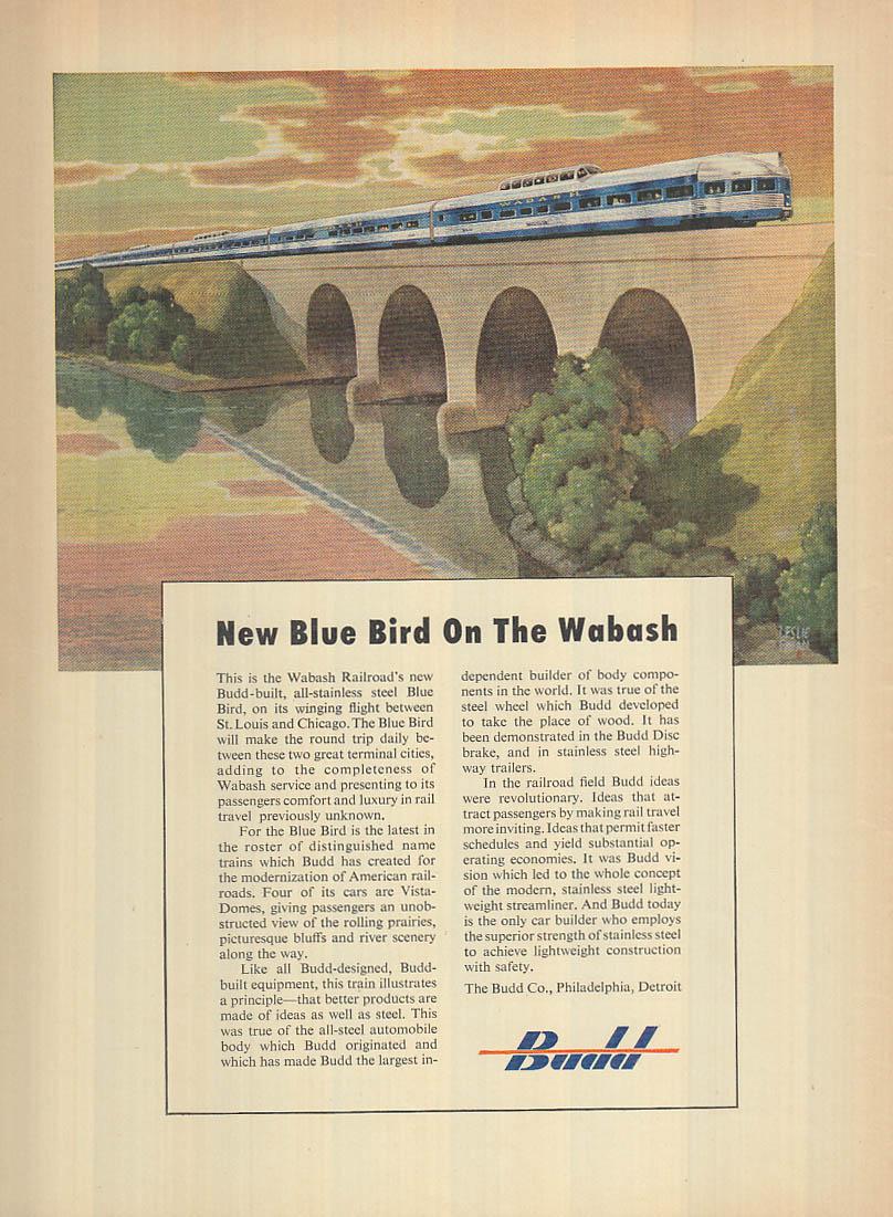 New Blue Bird streamliner on the Wabash Railroad Budd Company ad 1950