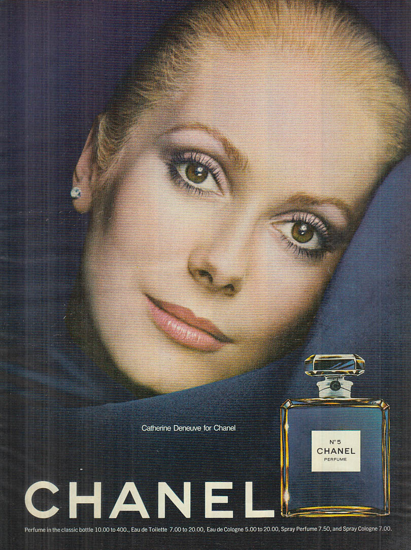 Catherine Deneuve for Chanel No 5 perfume ad 1973 NY