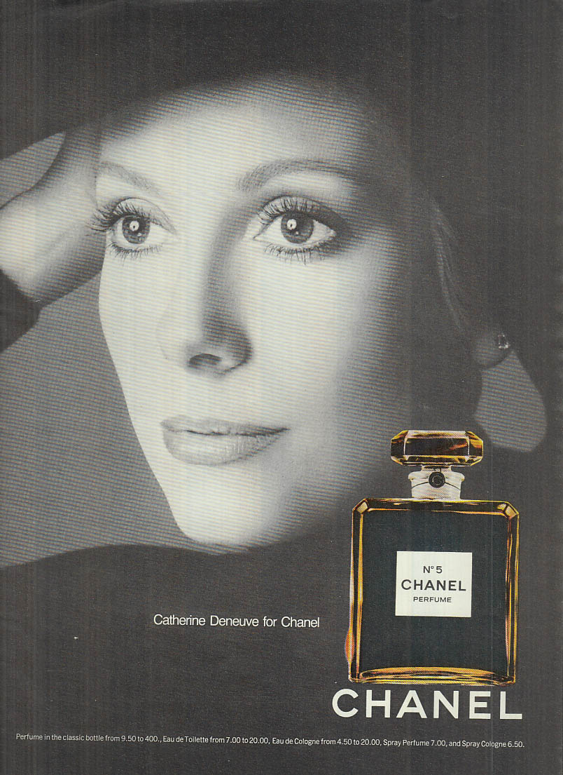 Catherine Deneuve for Chanel No 5 perfume 1974 ad #3 various magazines