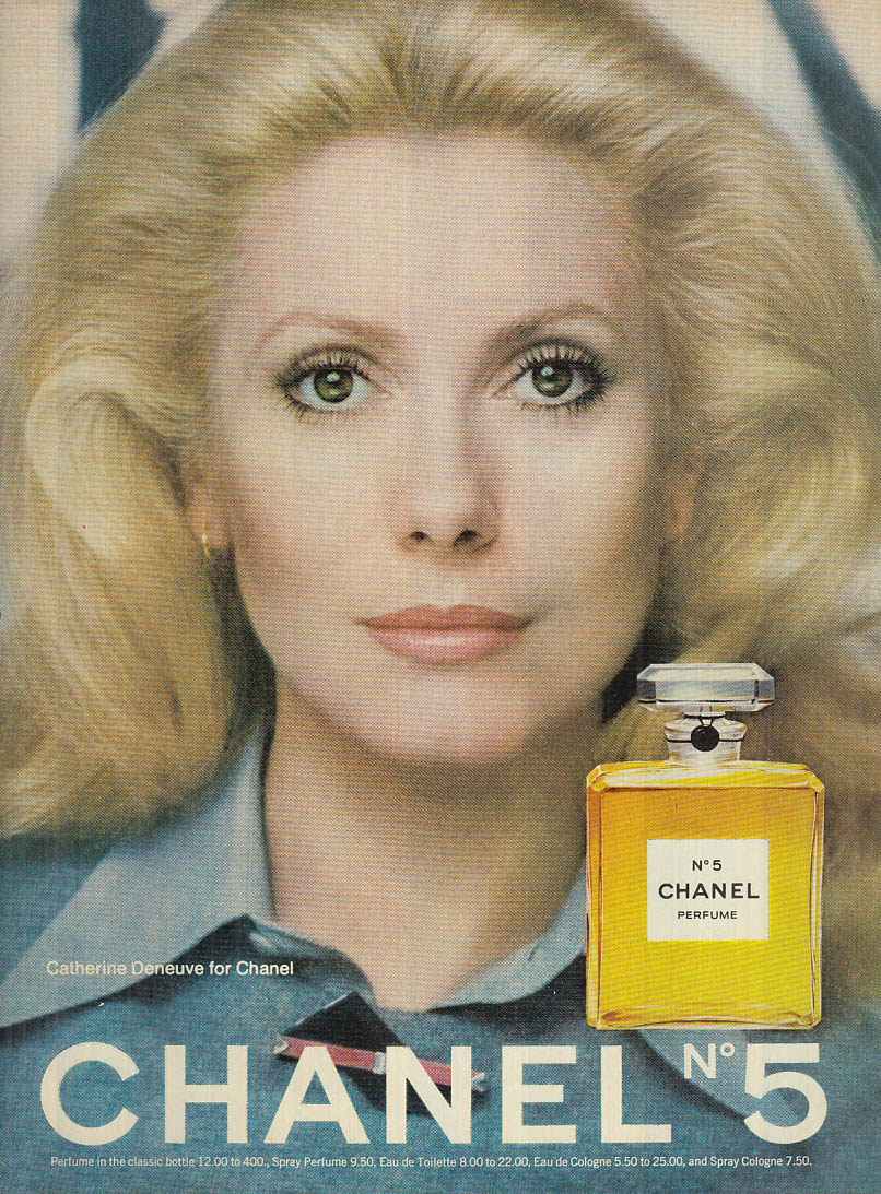 Catherine Deneuve for Chanel No 5 perfume ad 1973 Glamour