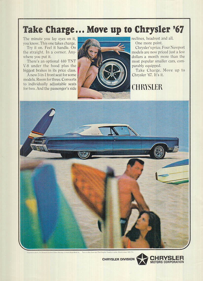 Image for Take charge - move up to Chrysler Newport Custom 2-dr hardtop ad 1967 NY