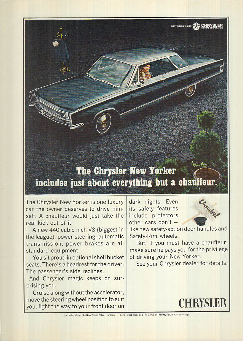 Image for Includes about everything but the chauffeur Chrysler New Yorker ad 1966 NY
