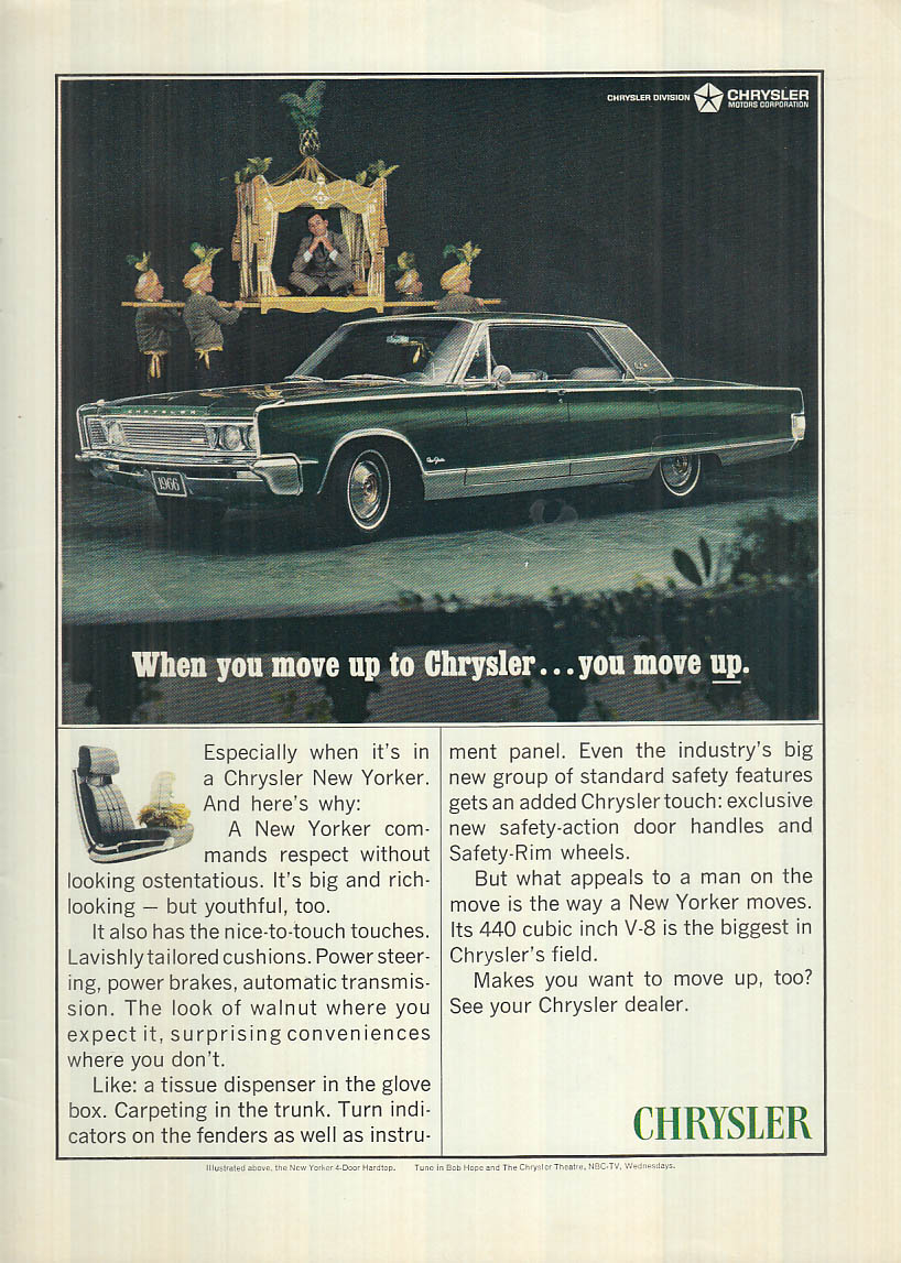Image for When you move up to Chrysler New Yorker you move UP! Ad 1966 NY