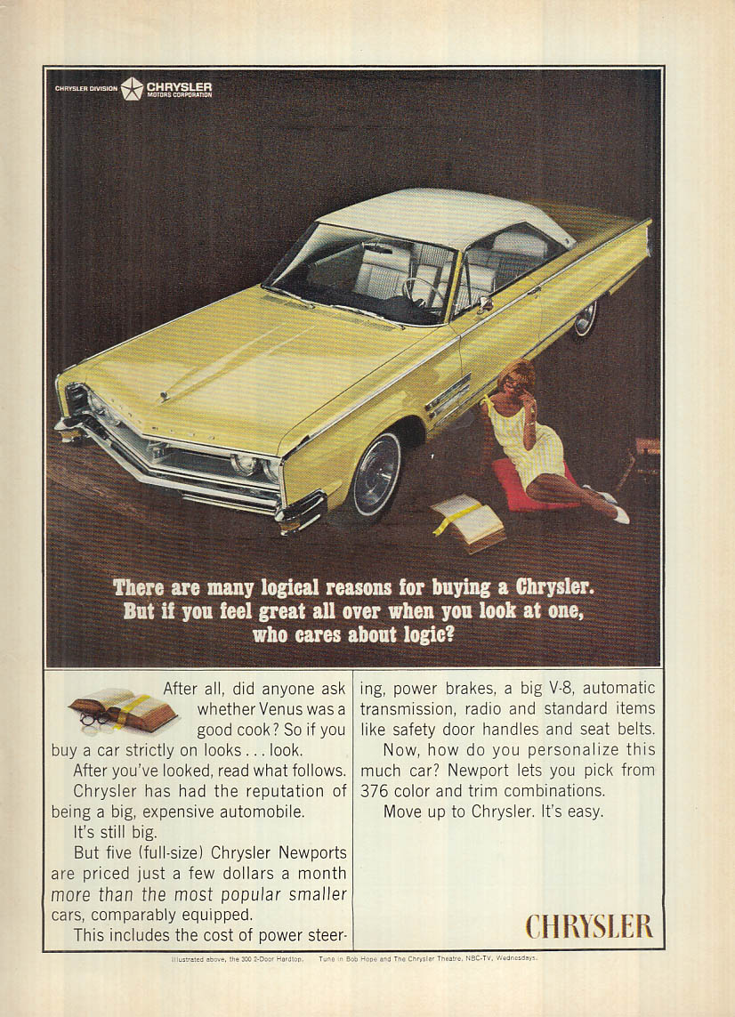Image for If you feel great when you look at one who cares Chrysler 300 ad 1966 NY