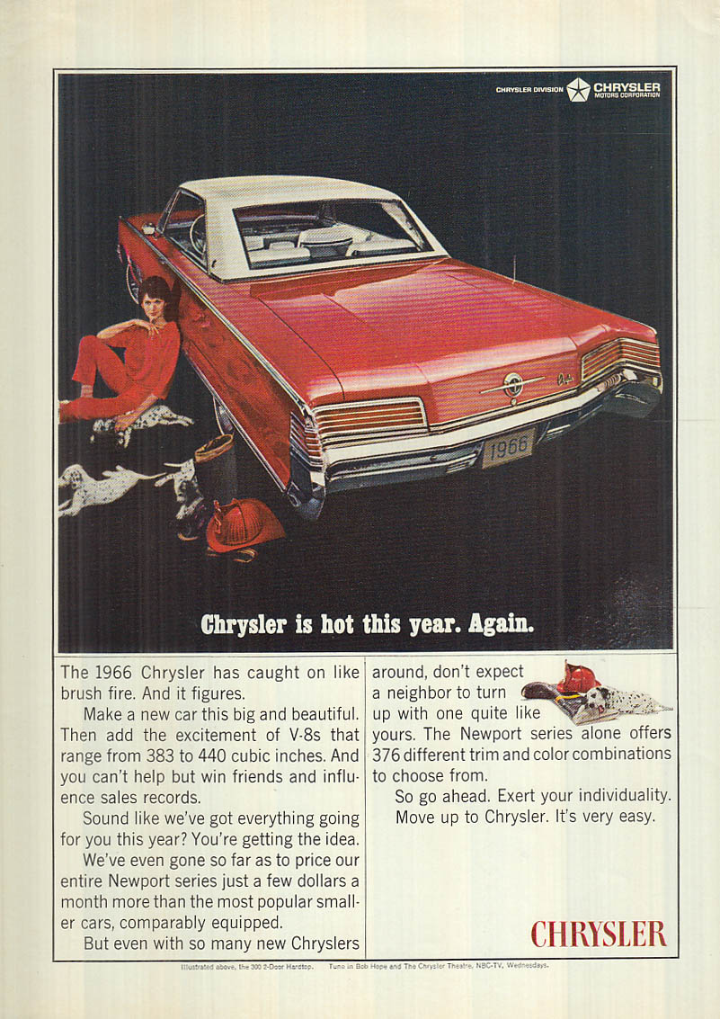 Image for Chrysler 300 2-door hardtop is hot this year. Again. ad 1966 NY