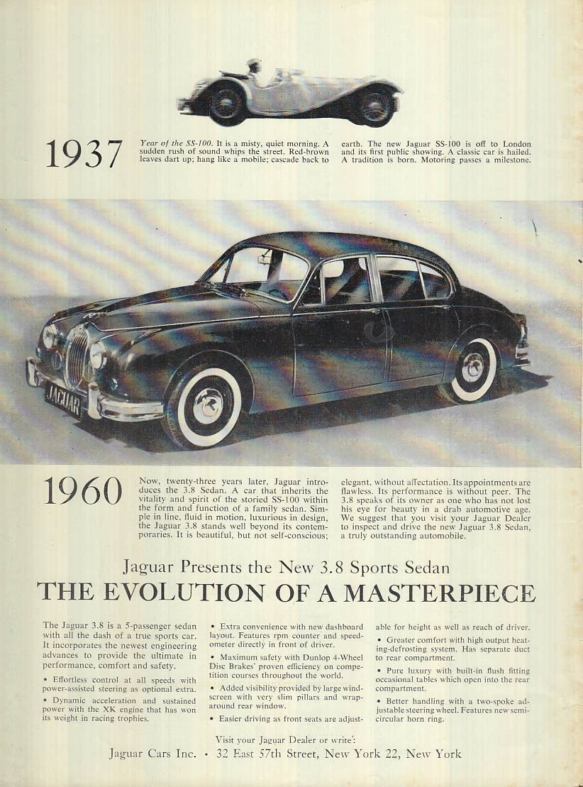 The Evolution Of A Masterpiece Jaguar 3 8 Sport Sedan Ad 1960 R T