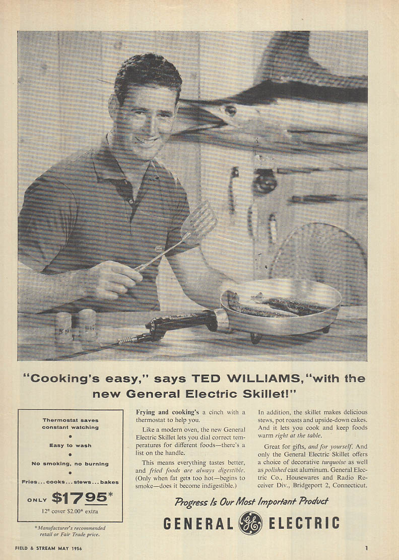 Ted Williams for General Electric Skillet ad 1956