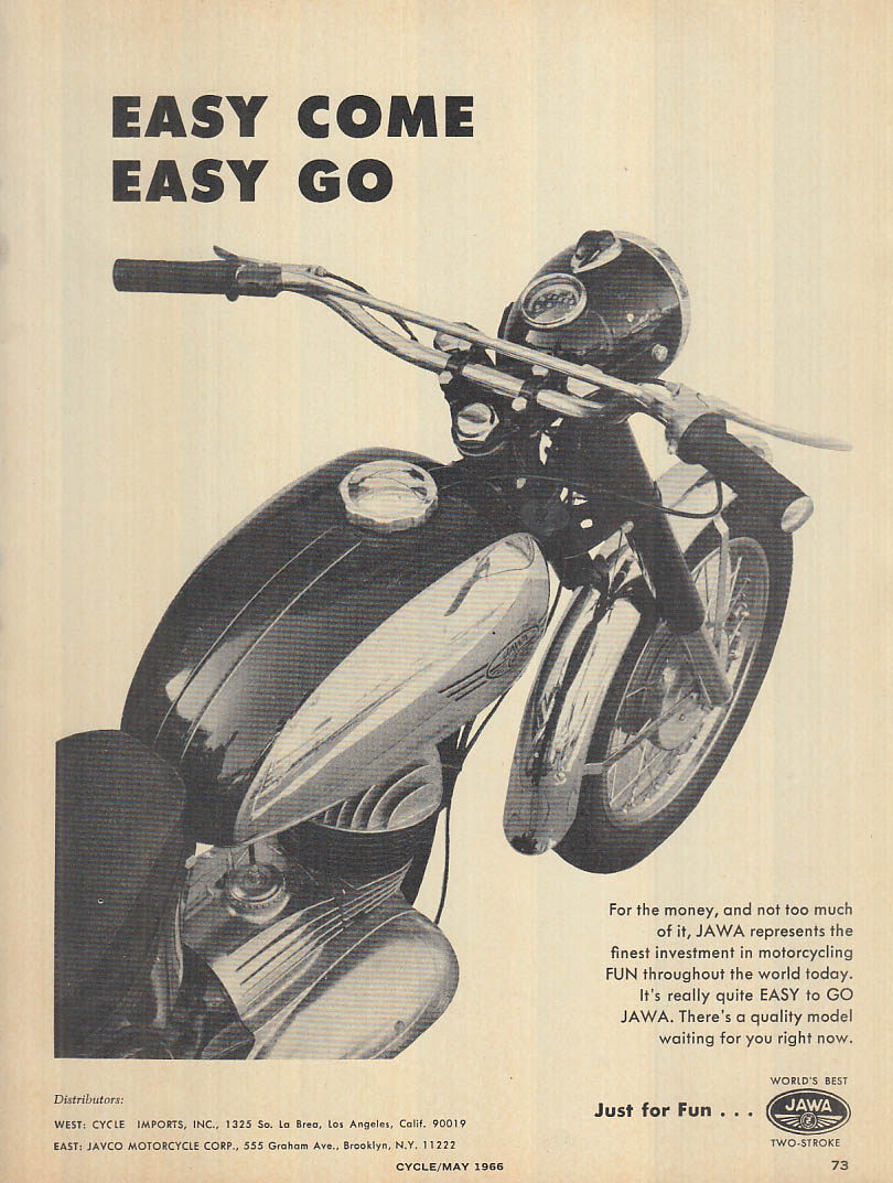 Easy Come Easy Go - Jawa 2-Stroke Motorcycle ad 1966