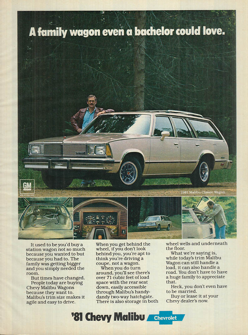 A family wagon even a bachelor could love Chevrolet Malibu ad 1981 BHG