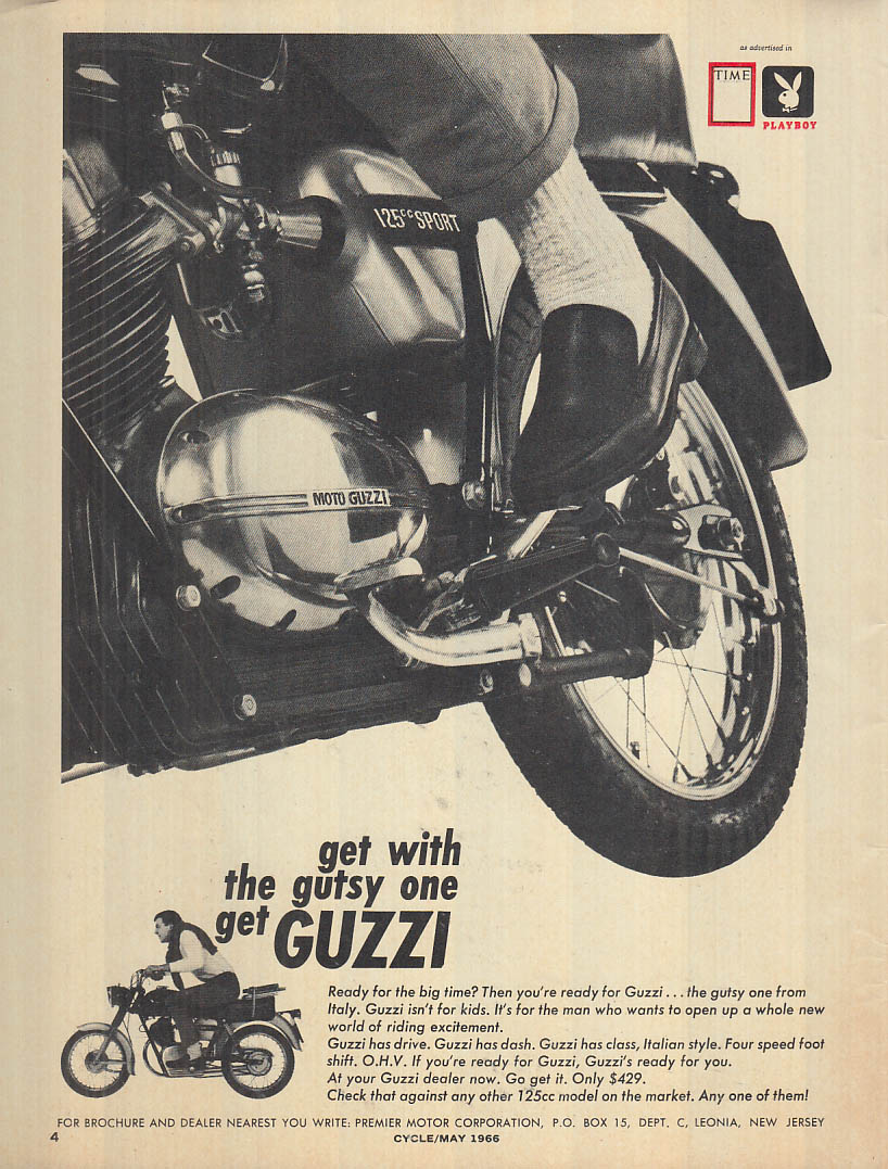 Get with the gutsy one - get Moto Guzzi 125cc Sport motorcycle ad 1966