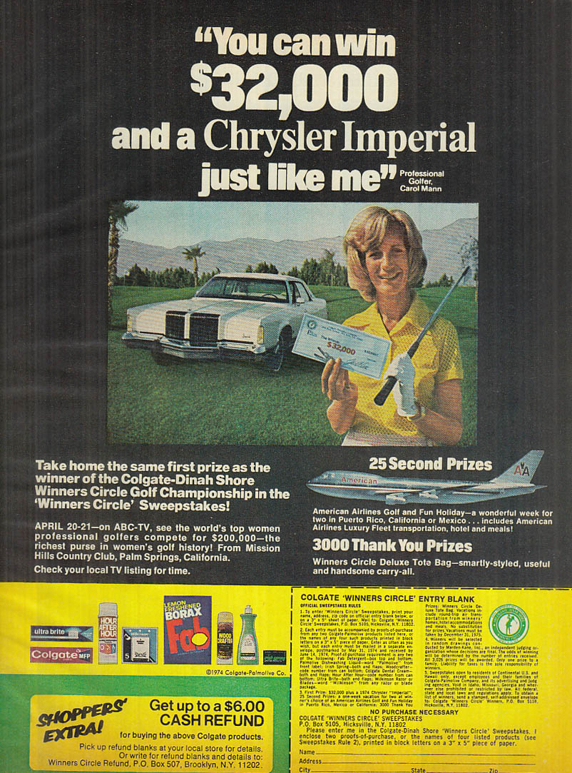 Image for Golfer Carol Mann Colgate Win a Chrysler Imperial Contest ad 1974
