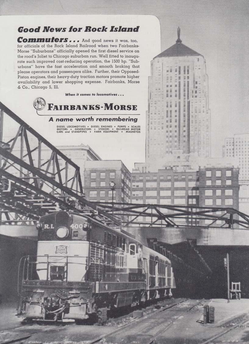 Good news for Rock Island Line Commuters - Fairbanks-Morse Diesel loco ad 1949