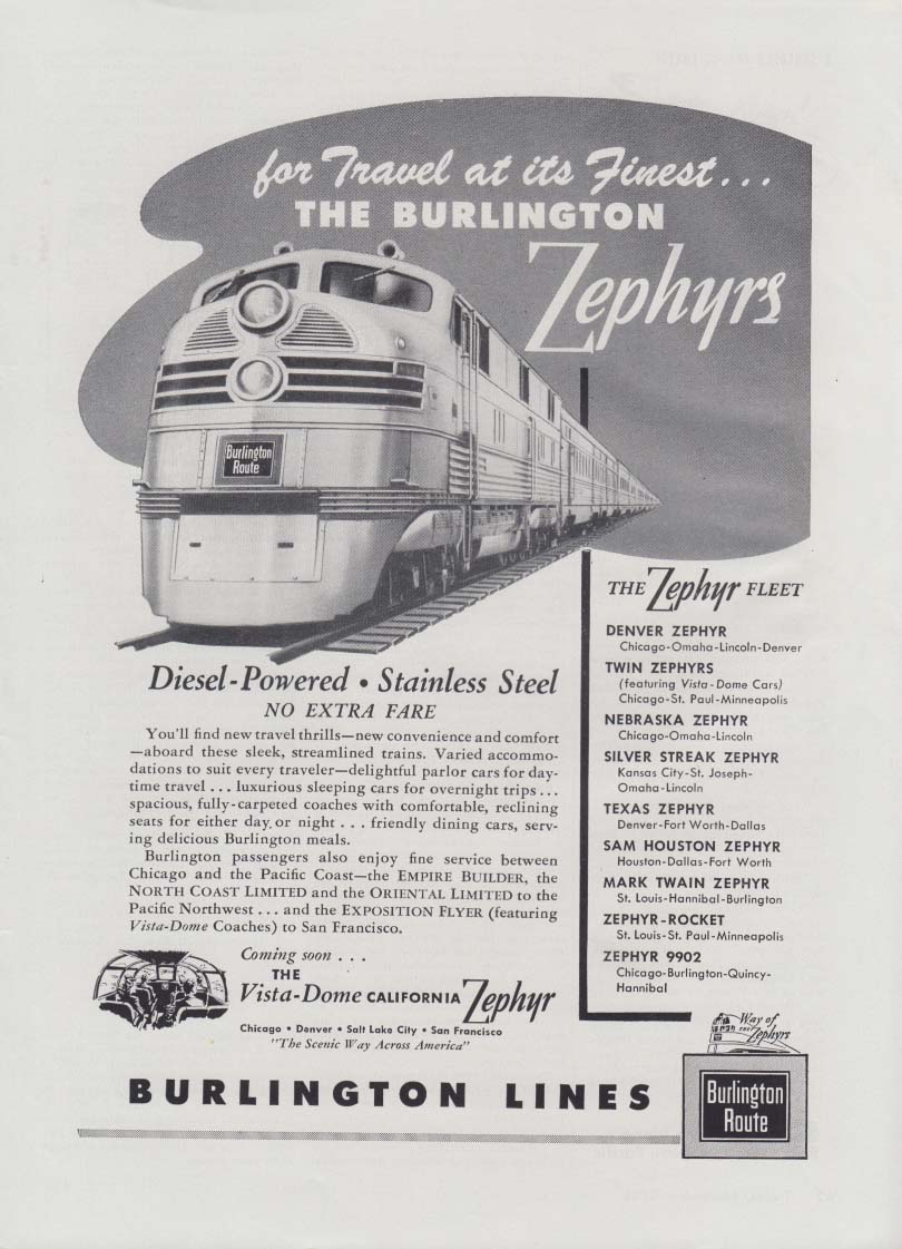 Burlington Diesel-Powered Stainless Steel Zephyrs no extra fare railroad ad 1948