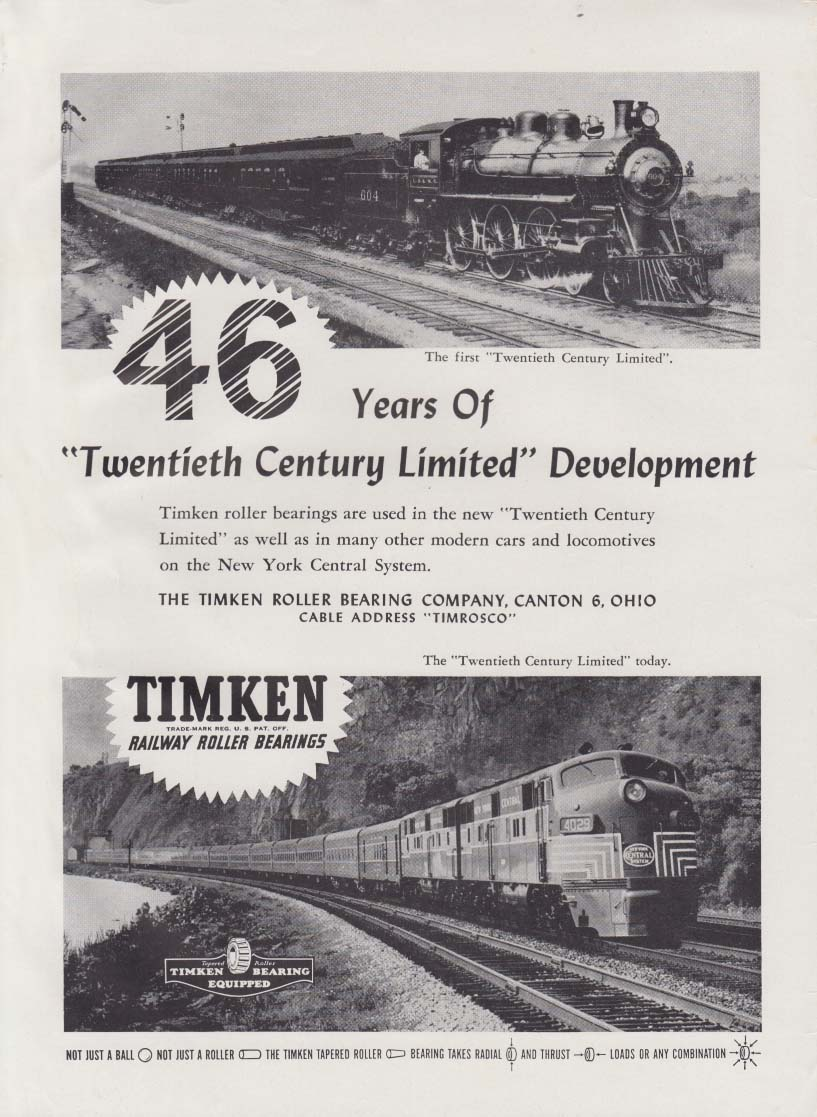 46 Years of 20th Century Limited development New York Central Timken ad 1948