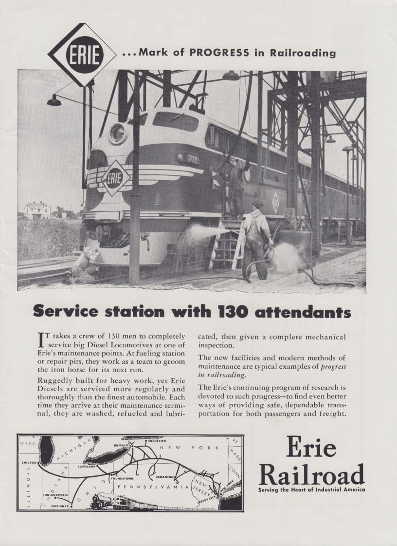 GM Diesel Service Station with 130 attendants Erie Railroad ad 1948