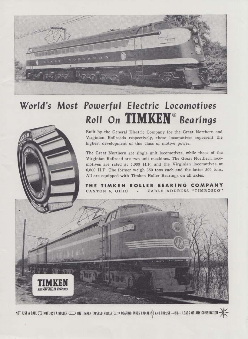 Great Northern & Virginian Electric Locomotives Timken ad 1948