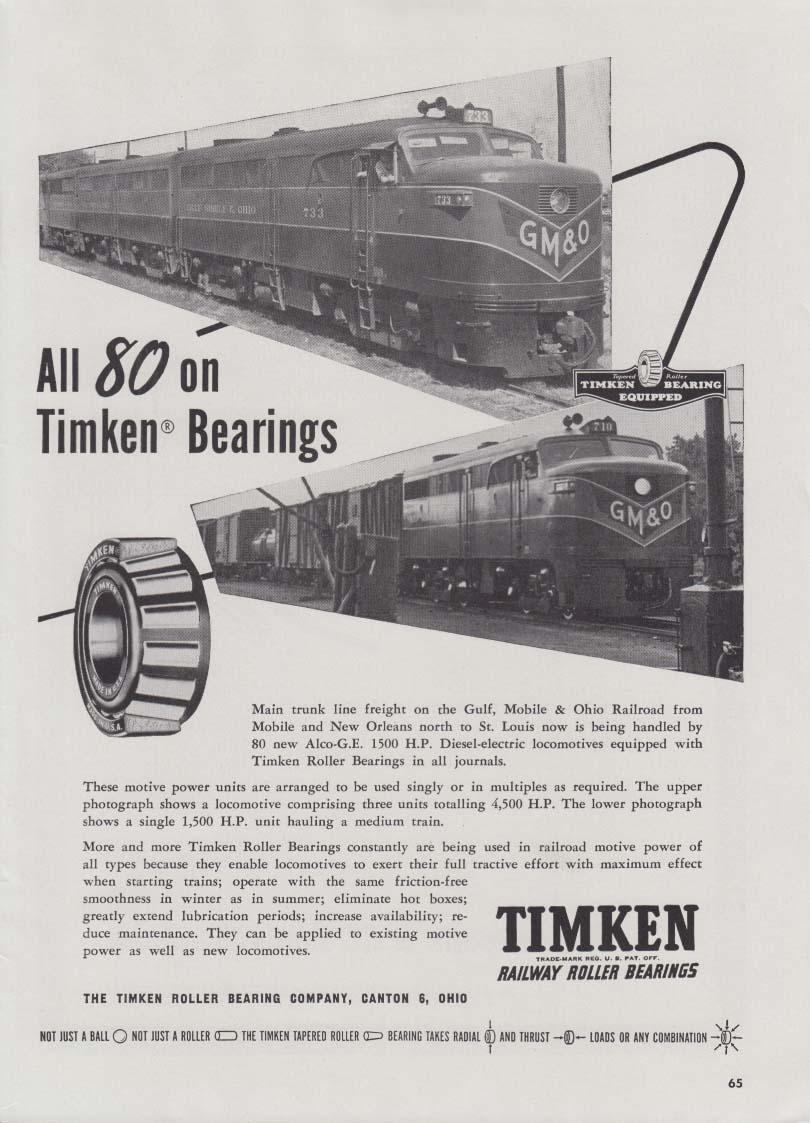 Gulf Mobile & Ohio Alco FA-1 diesel locomotives 710 & 733 Timken Bearing ad 1948