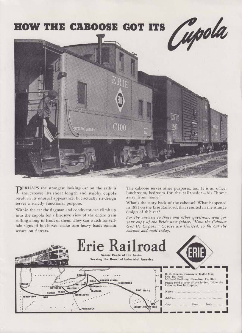 How the Caboose got its Cupola Erie Railroad ad 1948
