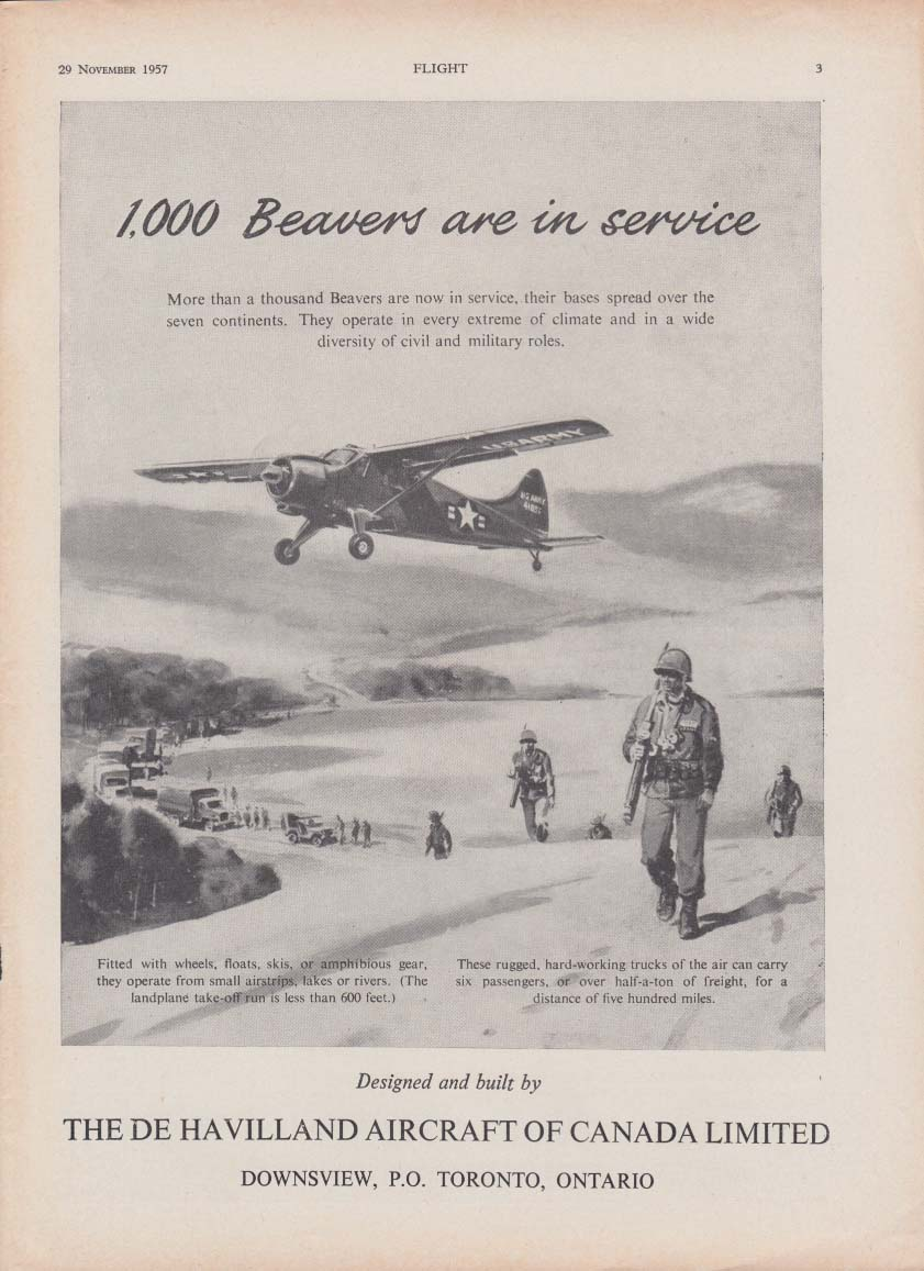 1000 Beavers are in service - De Havilland Aircraft of Canada ad 1957