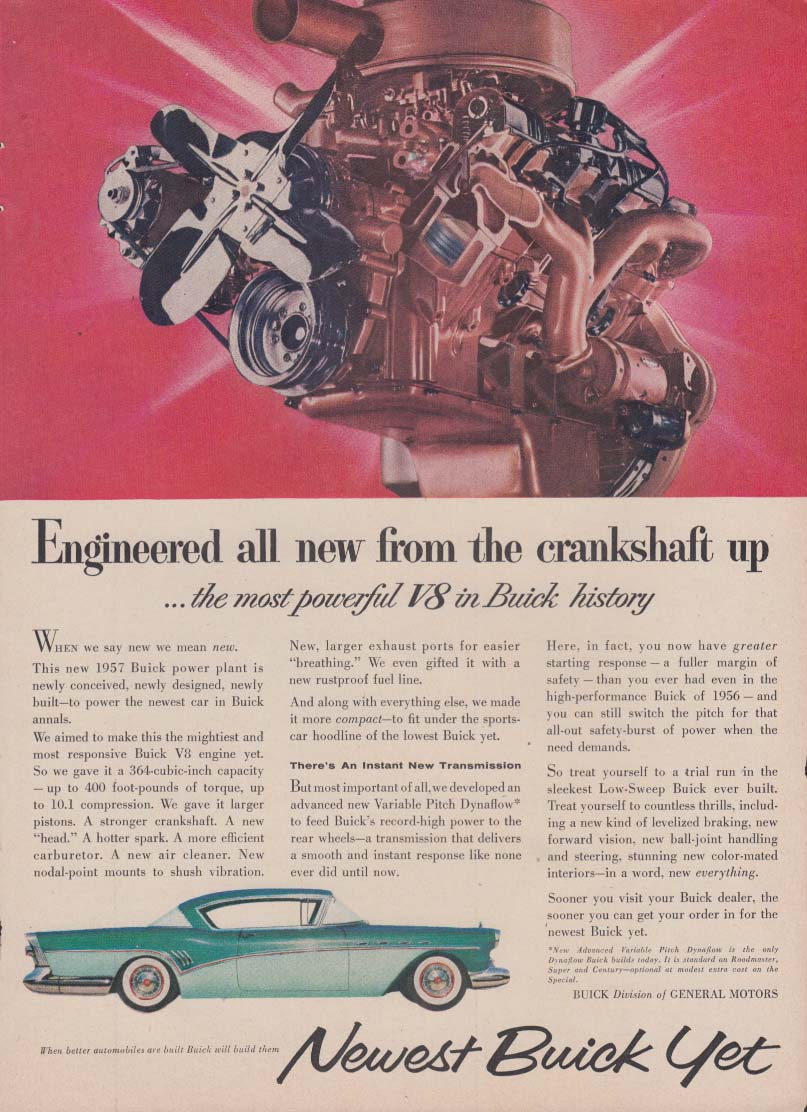 Engineered all new from the crankshaft up Buick Roadmaster ad 1957 T