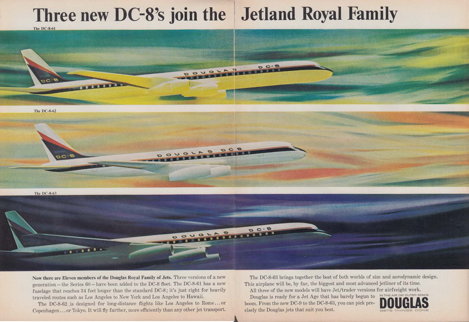3 new DC-8s join Jetland Royal Family Douglas DC-8-61 DC-8-62 DC-8-63 ad 1965