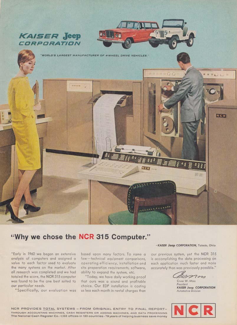 Image for Kaiser Jeep Corporation uses the NCR 315 Computer ad 1963