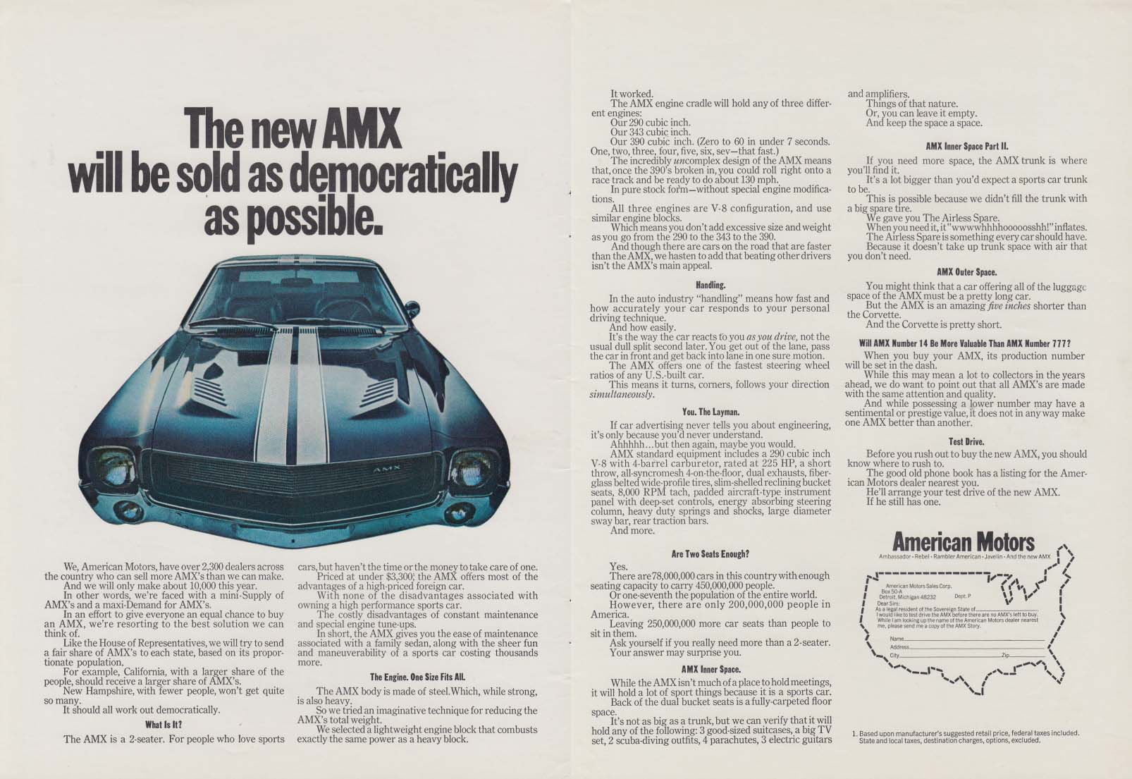 Image for The new AMX will be sold as democratically as possible ad 1968 Pby