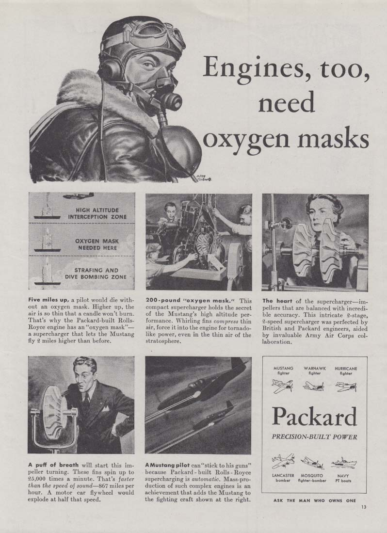 Engines, too, need oxygen masks Packard P-51 Mustang ad 1944 Am