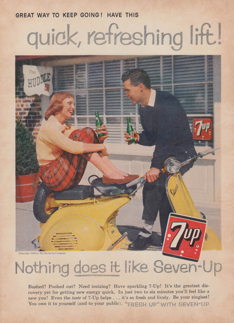 Image for Quick Refreshing Lift! Seven-Up 7up ad 1958 Vespa Motorscooter FJ