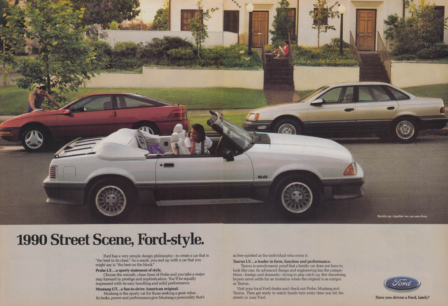 Image for 1990 Street Scene, Ford-style - Mustang GT Probe LX Taurus LX ad 1990