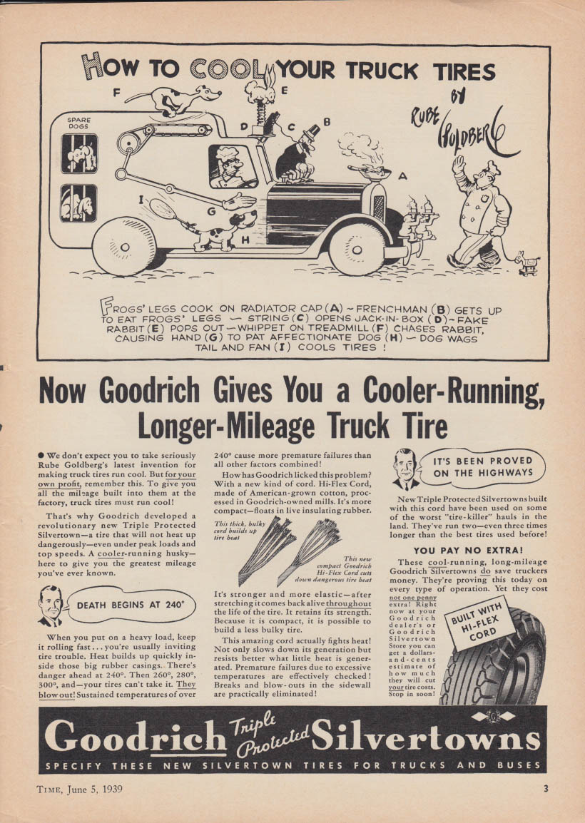 Cool your truck tires - Rube Goldberg invention for Goodrich ad 1939 T