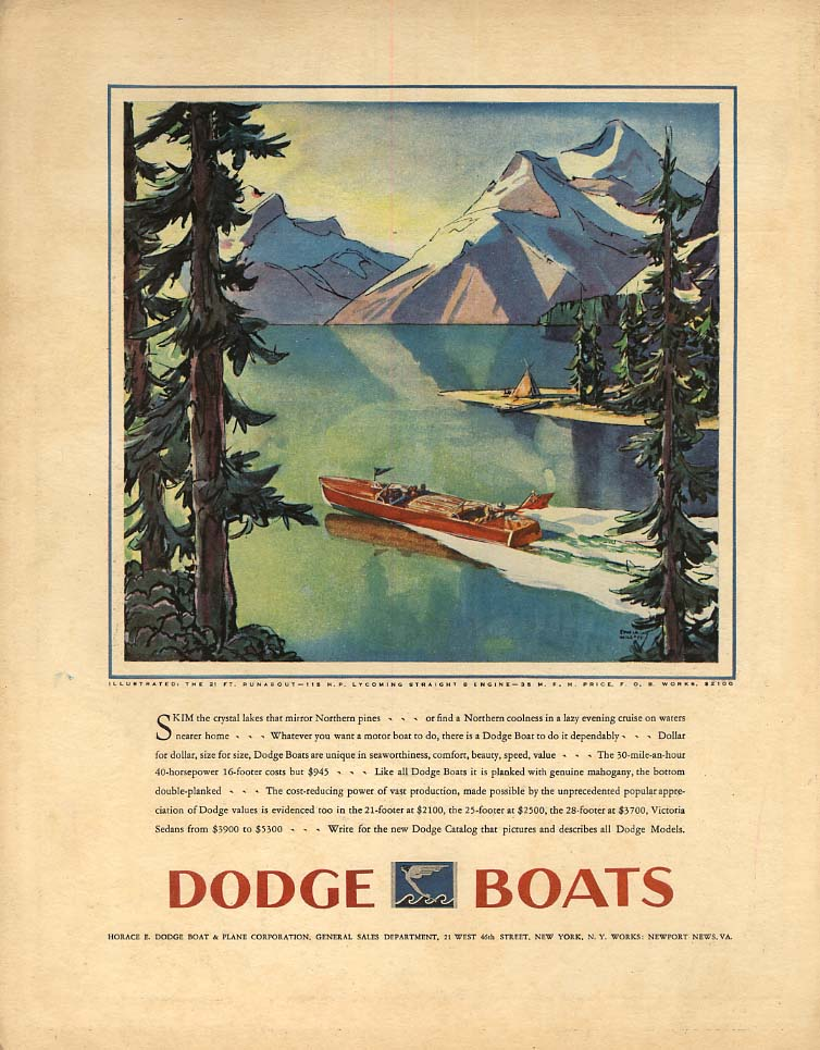 Skim the crystal lakes Dodge 21-foot Runabout speedboat ad 1930 F