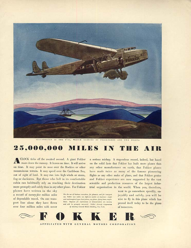 25,000,000 Miles in the Air - Fokker F-32 Airliner ad 1930 F