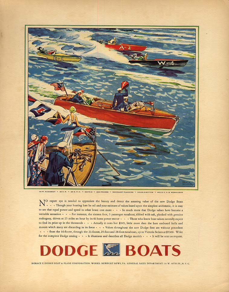 No expert eye needed to appreciate Dodge 16-foot Runabout speedboat ad 1930 F