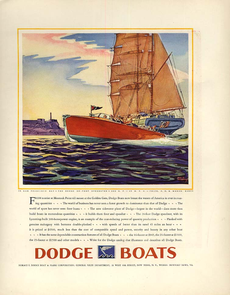 Montauk Point to San Francisco Bay - Dodge 28-foor Speedster speedboat ad 1930 F