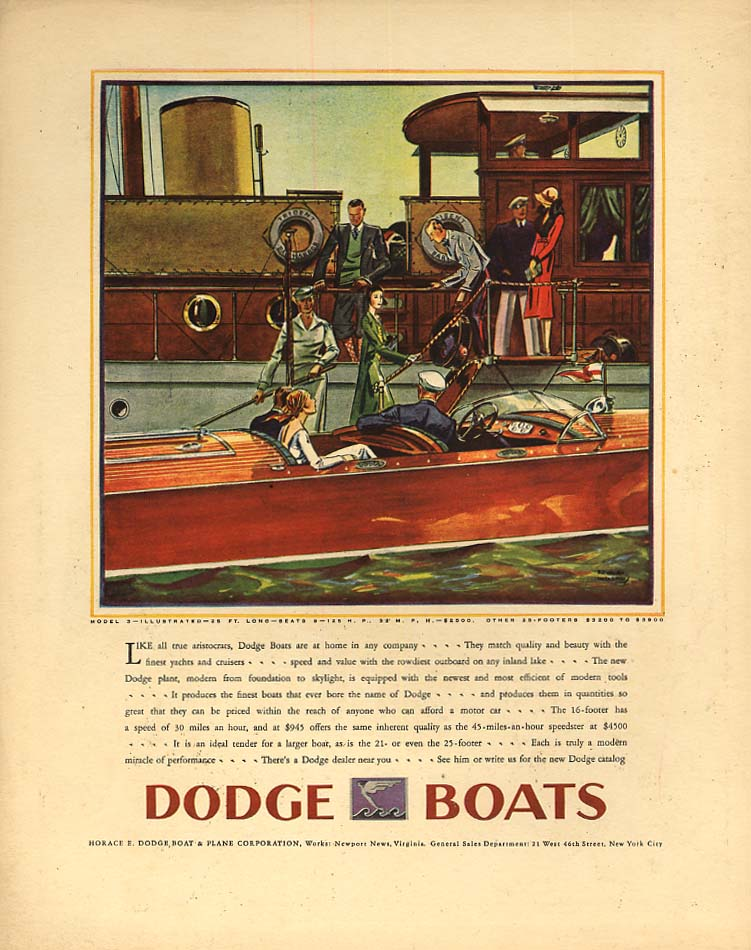 Like all true aristocrats at home in any company Dodge 25-Foot Speedboat ad 1930