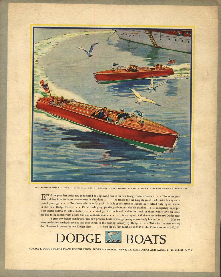 Dodge 16-foot Runabout speedboat / Fine thing well done Marmon Big 8 ad 1930