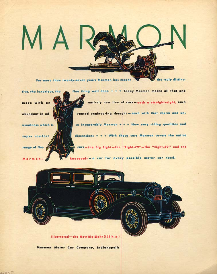 Image for Dodge 16-foot Runabout speedboat / Fine thing well done Marmon Big 8 ad 1930