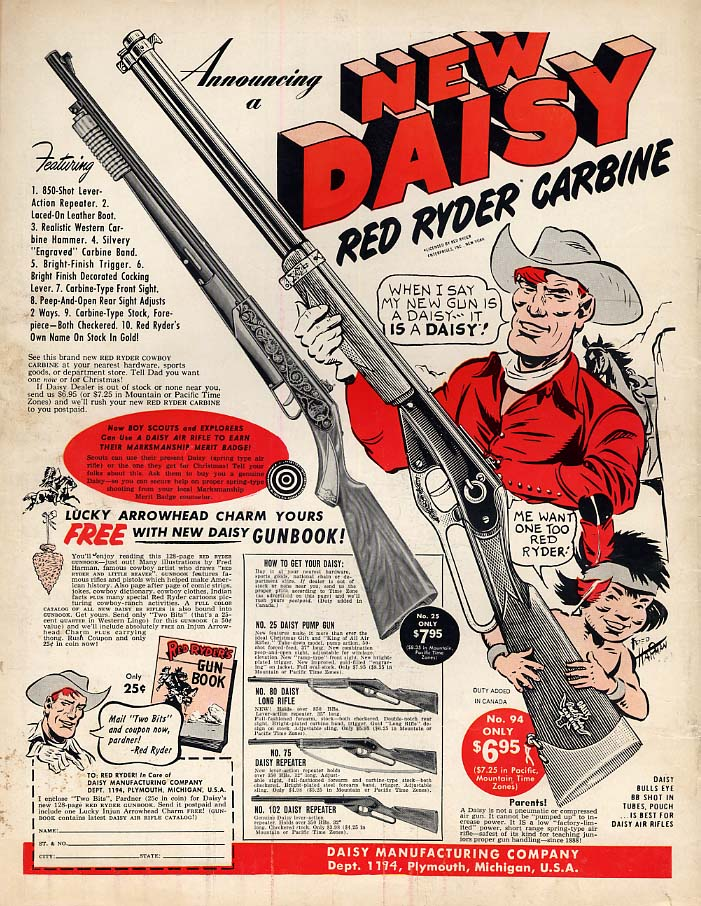 Announcing a new Daisy Red Ryder Carbine magazine ad 1954 BL