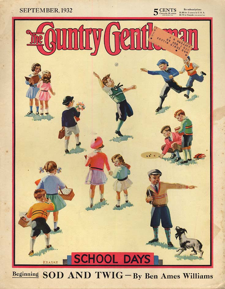 COUNTRY GENTLEMAN COVER 1932 School Days by Kraske marbles dog books